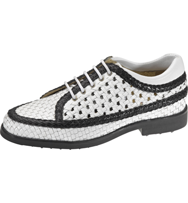 fashion authorized site classic fit Aerogreen Golf Shoes Woven Leather White/Black Women's Shoes user ...